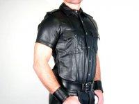 R&Co Short Sleeve Police Shirt Calf Leather