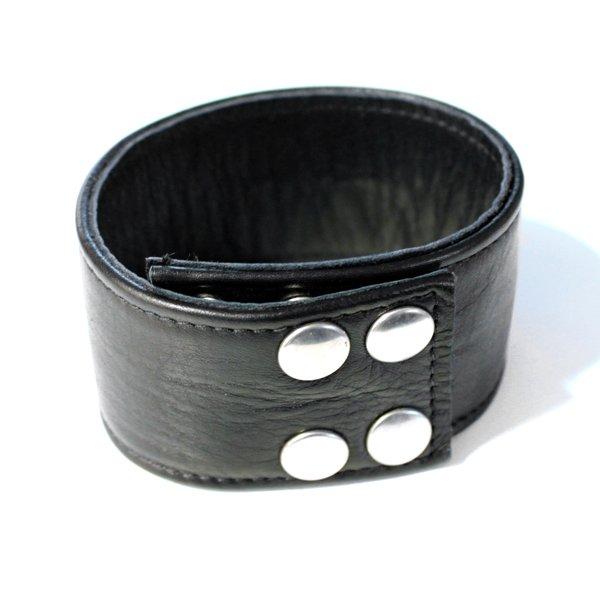 R&Co Leather Biceps Band Plain Black 5 cm
