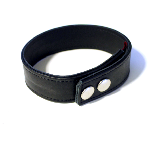 R&Co Leather Biceps Band Plain Black 3 cm