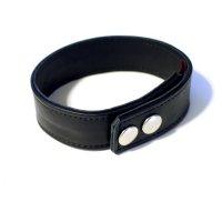 R&Co Leather Biceps Band Plain Black 3 cm