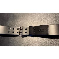R&Co Leather Belt 5 cm With Double Buckle Black