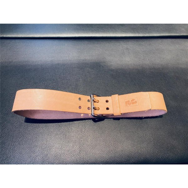 R&Co Leather Belt 5 cm With Double Buckle Natural Brown