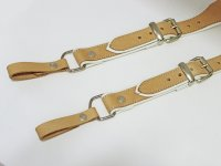 R&Co Braces in Soft Natural Brown Leather + White Piping