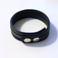 R&Co Leather Biceps Band Black 3 cm + 1 Piping