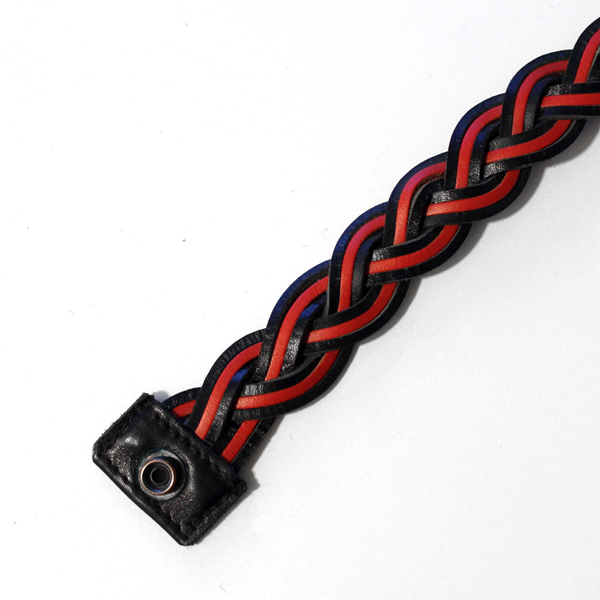 R&Co Leather Plaited Lanyard