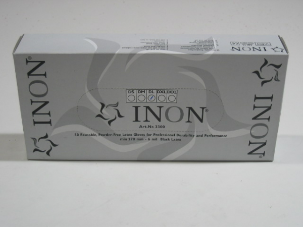 INON Latex Gloves Black 50 x