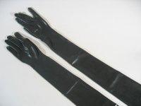Rubber Gloves Shoulder Length Black M