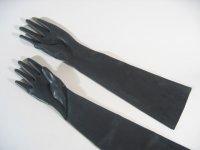 Rubber Gloves Elbow Length Black M