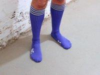 R&Co Football Socks + Stripes - Blue/White