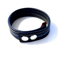 R&Co Leather Biceps Band Black 3 cm + 1 Piping Blue
