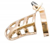 Brutal Stainless Steel Chastity Cage - Gold Plated