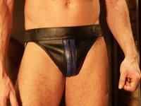 R&Co Jockstrap with Front Zip + Stripes Blue