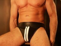 R&Co Jockstrap with Front Zip + Stripes White