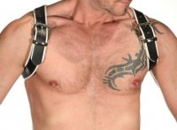 R&Co Shoulder Harness in Soft Leather Black + Piping