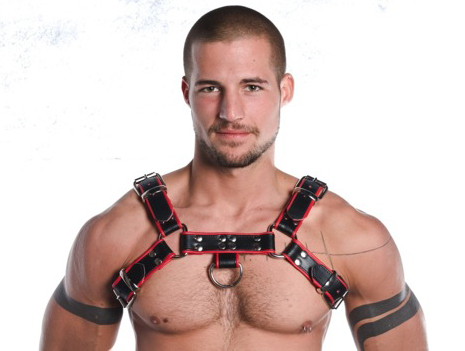 R&Co H-Harness in Soft Leather Black + Piping Red