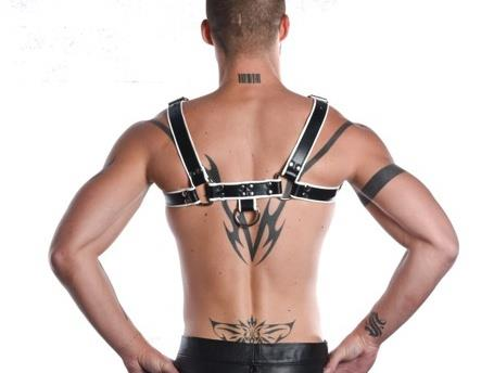 R&Co H-Harness in Soft Leather Black + Piping White