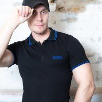 Capt. Berlin Polo-Shirt Black + Stripes Blue