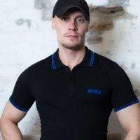 Capt. Berlin Polo-Shirt Black + Stripes Blue XXL
