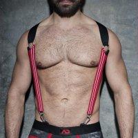Addicted ADF85 Elastic Suspenders Red