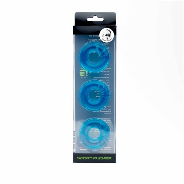 Chubby Rubber Cockring 3-Pack Ice Blue