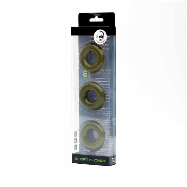 Chubby Rubber Cockring 3-Pack Army Green