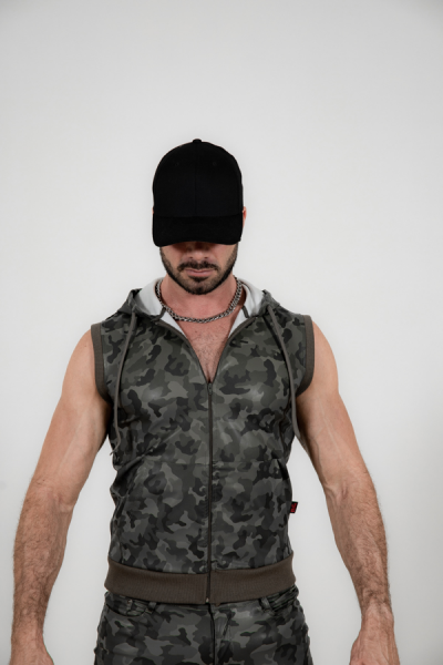 R&Co Hustler Sleeveless Hoodie Camouflage Olive