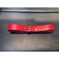 R&Co Leather Belt 5 cm With Double Buckle Red