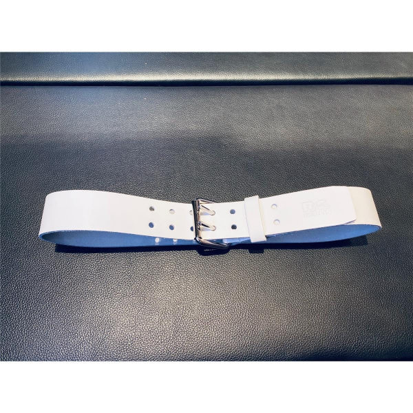 R&Co Leather Belt 5 cm With Double Buckle White