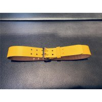 R&Co Leather Belt 5 cm With Double Buckle Yellow