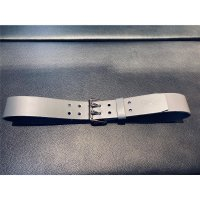 R&Co Leather Belt 5 cm With Double Buckle Grey