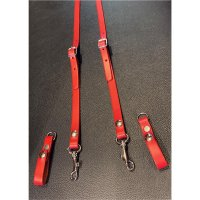 R&Co Leather Skinhead Braces Red