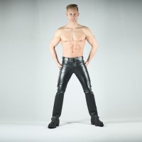 R&Co Premium Leather Jeans Hipster Style Slim Leg