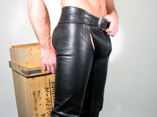 R&Co Leather Chaps - inside zip