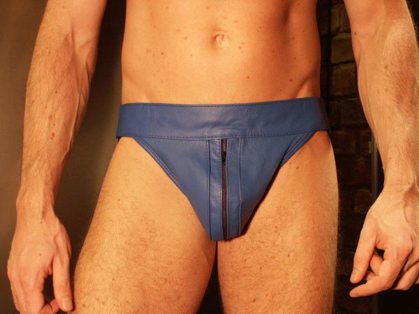 R&Co Jockstrap with Front Zip in Jeans Leather