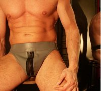 R&Co Jockstrap with Front Zip in Jeans Leather Grey + Black Stripes