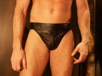 R&Co Jockstrap with Front Zip Perforated Leather
