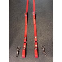 R&Co Leather Skinhead Braces Red XL