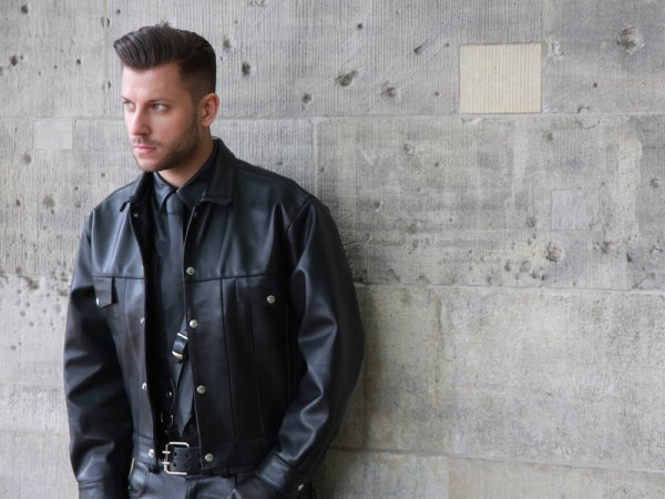 R&Co Leather Jacket Jeans Style with inlay